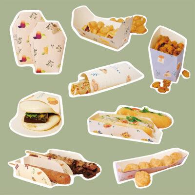 台湾の寧夏夜市における、食べ歩き用エコパッケージの提案